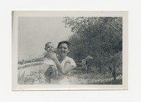 Mrs. Salveron with a Child (Bobby?) [Photograph, Black and White] [Notebook 2], circa 1940-1960