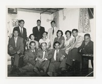 Leona Puyot with Group [Photograph, Black and White] [Notebook 2], circa 1950-1960