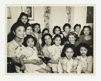 Leona Puyot with large group of Women [Photograph, Black and White] [Notebook 2], circa 1950-1960