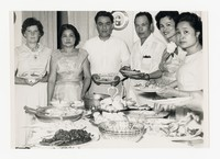 Group of Six Individuals Around Table [Photograph, Black and White] [Notebook 2], circa 1950-1960