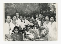 Ana Alcoy (1911-2008) and Leon Alcoy (1905-2002) with Leona Puyot and Lena Panganiban with a Group [Photograph, Black and White] [Notebook 2], circa 1950-1960