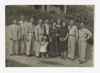 Group Photo Including Five Men in Military Uniform [Photograph, Black and White] [Notebook 2], circa 1940-1960