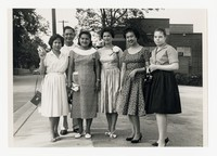 Six Individuals on Street with Cameras [Photograph, Black and White] [Notebook 2], circa 1940-1960