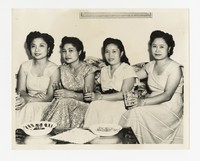 Four Women on Couch; Includes Leona Puyot [Photograph, Black and White] [Notebook 2], circa 1950-1960