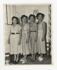 Four Women Posing; Includes Leona Puyot [Photograph, Black and White] [Notebook 2], circa 1950-1960