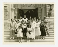 Group Photo on Church Steps, includes Leona Puyot [Photograph, Black and White] [Notebook 2], circa 1950-1960