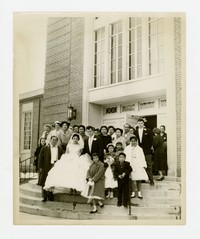 Wedding Photo on Steps [Photograph, Black and White] [Notebook 2], circa 1950-1960