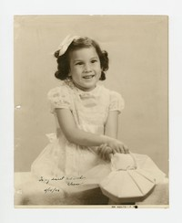Studio Portrait of Girl Sent to Godmother Eleanor [Photograph, Black and White] [Notebook 2], April 15, 1946