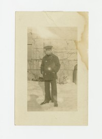 Felipe Mondoñedo in a Navy uniform in the snow [Photograph, Black and White] [Box 2, Black Photograph Box], circa 1915-1930