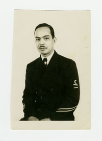 Felipe Mondoñedo with a mustache in Navy uniform [Photograph, Black and White] [Box 2, Black Photograph Box], December 1943