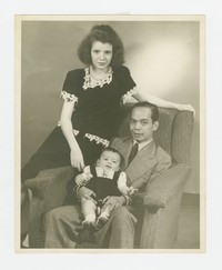 Studio portrait of Felipe Mondoñedo with Christine Helphenstine and child [Photograph, Black and White] [Box 2, Black Photograph Box], circa 1946