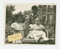 Four children at the Songco's house, Nita Mondoñedo is sitting with baby on her lap [Photograph, Black and White] [Box 2, Black Photograph Box], circa 1950