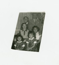 Small photograph of six people including three members of the Rillon family and two members of the Mondoñedo family [Photograph, Black and White] [Box 2, Black Photograph Box], circa 1950-1955