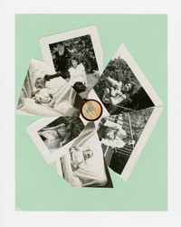 Photograph collage in the shape of a flower with photographs of Felipe, Tina and Juanita Mondoñedo [Photograph, Black and White] [Box 2, Black Photograph Box], 1946