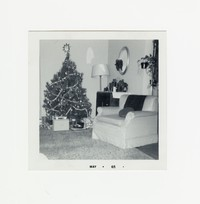 Living room with a Christmas tree [Photograph, Black and White] [Box 2, Black Photograph Box], December 1964