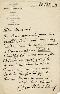 Letter from Camille Chevillard to Michel-Dmitri Calvocoressi, October 21, 1913