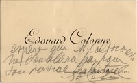 Calling card from Edouard Colonne with message to Michel-Dmitri Calvocoressi, undated
