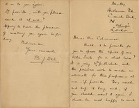 Letter from Benjamin Dale to Michel-Dmitri Calvocoressi, October 9