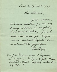 Letter from Paul Dupin to Michel-Dmitri Calvocoressi, October 19, 1909