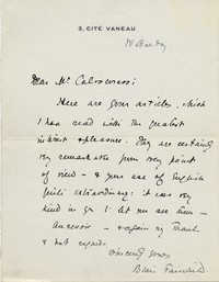 Letter from Blair Fairchild to Michel-Dmitri Calvocoressi, undated