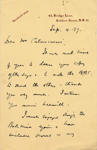 Letter from Sir Donald Keith Falkner to Michel-Dmitri Calvocoressi, September 4, 1937