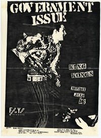 Government Issue concert flier, King Kong Restaurant, Adelphi, Maryland - July 16, 1984