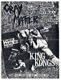 Gray Matter concert flier, King Kong Restaurant, Adelphi, Maryland - August 21, 1984