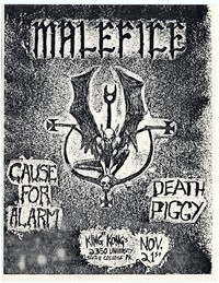 Malefice concert flier, King Kong Restaurant, Adelphi, Maryland - November 21, 1984