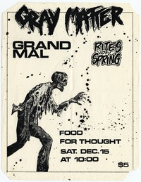 Gray Matter concert flier, Food For Thought, Washington, D.C. - December 15, 1984
