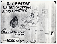 Beefeater concert flier, Food For Thought, Washington, D.C. - September 29, 1984