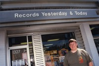 Skip Groff outside of Yesterday & Today Records storefront, Rockville, Maryland