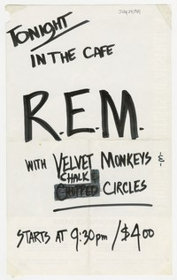 REM, Velvet Monkeys, and Chalk Circle concert flier, Washington, D.C., DC Space, July 24, 1981