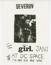 Severin and Velocity Girl concert flier, d.c. Space, Washington, D.C. - January 1, 1991