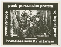 Punk Percussion Protest and Fugazi concert flier, White House, Washington, D.C. - January 12, 1991