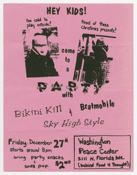Bikini Kill and Bratmobile concert flier, Washington Peace Center, Washington, D.C., December 27, 1991