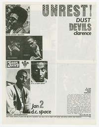 Unrest concert flier, d.c. space, Washington, D.C., January 2, 1990