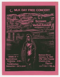 Scream concert flier, Church of the Pilgrims, Washington, D.C., January 15, 1990