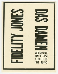 Fidelity Jones concert flier, 9:30 Club, Washington, D.C., January 31, 1990