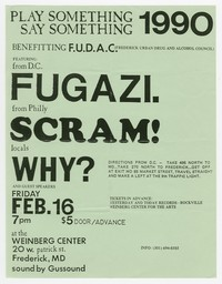 Fugazi concert flier, Frederick, Maryland, February 16, 1990