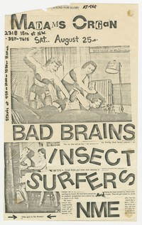 Bad Brains concert flier, Madam's Organ, Washington, D.C., August 25, 1979