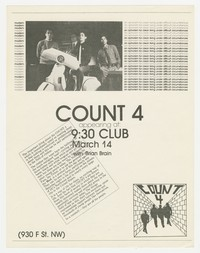 Count 4 and Brian Brain concert flier, 9:30 Club, Washington, D.C., March 14, 1980