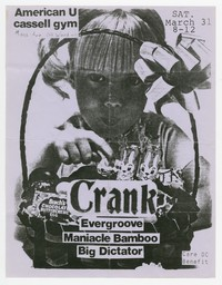 Crank concert flier, American University, Washington, D.C., March 31, 1990