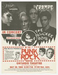 """The Cramps, the Slickee Boys, and """"the Punk Rock Movie"""" flier, Ontario Theatre, Washington, D.C., May 29, 1980"""