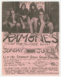 The Ramones and The Slickee Boys at the University of Maryland Student Union Grand Ballroom College Park, MD, June 8, 1980
