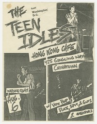 Advertising flier for Teen Idles concert - Hong Kong Cafe, Los Angeles, California, August 6, 1980