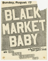 Advertising flier for Black Market Baby concert - One Flight Up, Washington, D.C., August 17, 1980