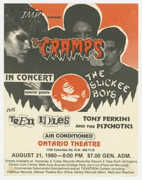 The Cramps, Slickee Boys, and Teen Idles concert flier - Ontario Theatre, Washington, D.C., August 21, 1980