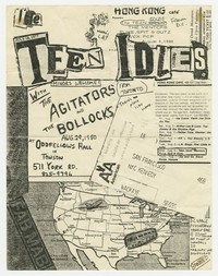 Advertising flier for Teen Idles concert - Odd Fellows Hall, Towson, Maryland, August 29, 1980