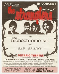 The Stranglers, the Monochrome Set, and Bad Brains concert flier, Washington, D.C., October 22, 1980