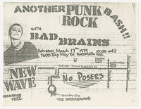 Bad Brains concert flier, house show, Forestville, Maryland, March 17, 1979